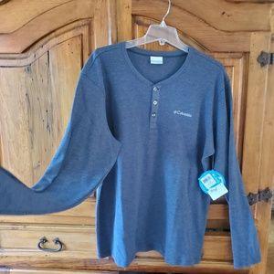 Men's Columbia Long Sleeved Shirt, Navy, SZ L